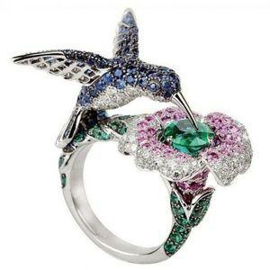 Jewelry - 925 Silver bird flower ring NWT